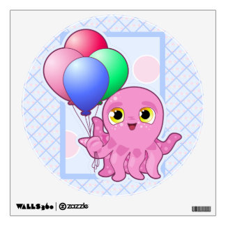 Cute Purple Octopus and Balloons Wall Decal