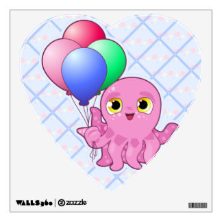 Cute Purple Octopus and Balloons Wall Sticker