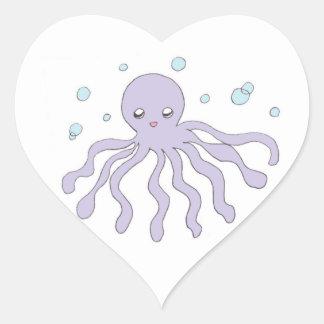Cute Purple Octopus Heart Sticker