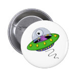 Cute Purple One Eyed Alien In Flying Saucer Pinback Buttons