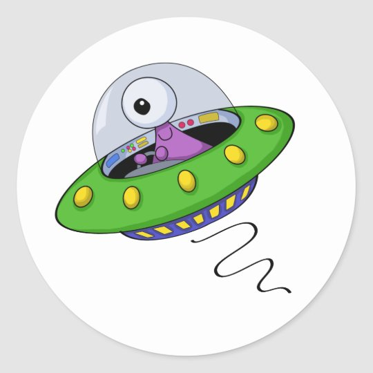 Cute Purple One Eyed Alien In Flying Saucer Classic Round Sticker
