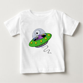 Cute Purple One Eyed Alien In Flying Saucer T-shirt