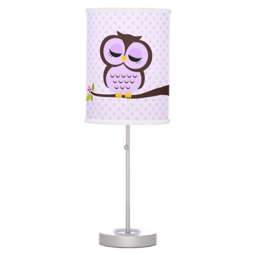Cute Purple Owl and Polka Dots Desk Lamp