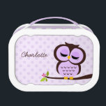 """Cute Purple Owl and Polka Dots Personalized Lunch Box<br><div class=""""desc"""">Adorable vector illustration of an cartoon owl perched on a tree branch on a whimsical polka dots background. Customize with your child&#39;s name,  monogram,  initials,  or any text of your choice.</div>"""