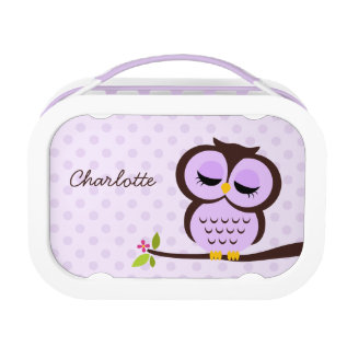 Cute Purple Owl And Polka Dots Personalized Lunch Box at Zazzle