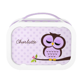 Cute Purple Owl and Polka Dots Personalized Yubo Lunchbox