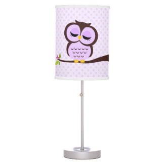 Cute Purple Owl and Polka Dots Table Lamps