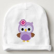 Cute Purple Owl Baby Beanie