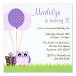 Cute Purple Owl Balloons Birthday Invitations