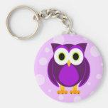 Cute Purple Owl Basic Round Button Keychain