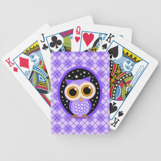 cute purple owl bicycle playing cards