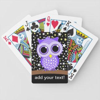 cute purple owl card decks
