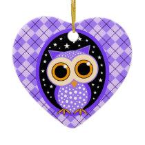 cute purple owl ceramic ornament
