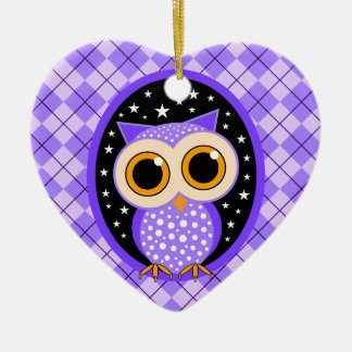 cute purple owl ceramic ornament