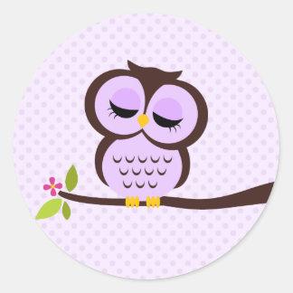 Cute Purple Owl Classic Round Sticker