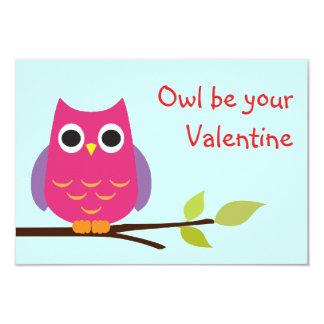 Cute purple owl classroom valentine exchange kids 3.5x5 paper invitation card