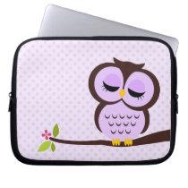 Cute Purple Owl Computer Sleeve