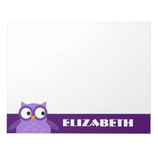 Cute Purple Owl Custom Name For Her A19 Notepad