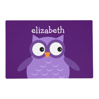 Cute Purple Owl Custom Name For Her A23 Placemat