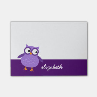 Cute Purple Owl Custom Name For Her A36 Post-it Notes