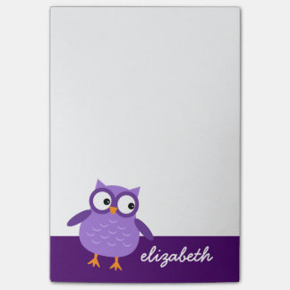 Cute Purple Owl Custom Name For Her A37 Post-it Notes