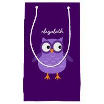 Cute Purple Owl Custom Name For Her A48 Small Gift Bag