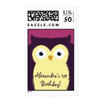 Cute Purple Owl First Birthday Custom Stamp