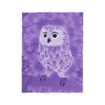 Cute Purple Owl Fleece Blanket