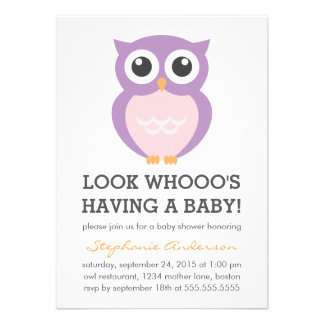 Cute Purple Owl Girl Baby Shower Invitations Personalized Announcements