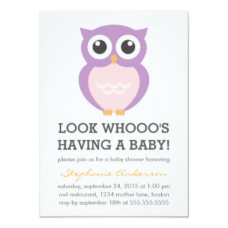 Cute Purple Owl Girl Baby Shower Invitations