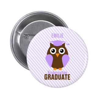 Cute Purple Owl Kindergarten Graduate Button