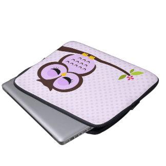 Cute Purple Owl Laptop Computer Sleeve