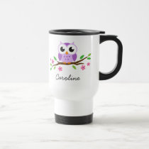 Cute, purple owl on a branch. Personalised name Travel Mug