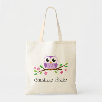 Cute purple owl on branch personalized library budget tote bag
