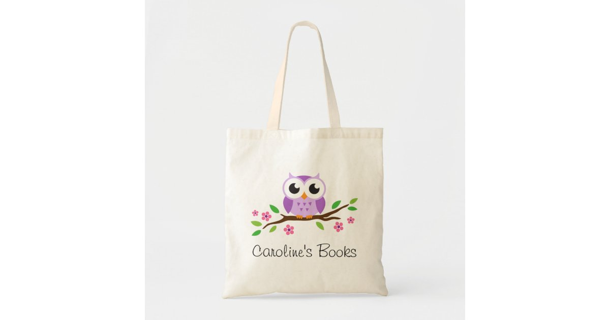Cute purple owl on branch personalized library tote bag ...