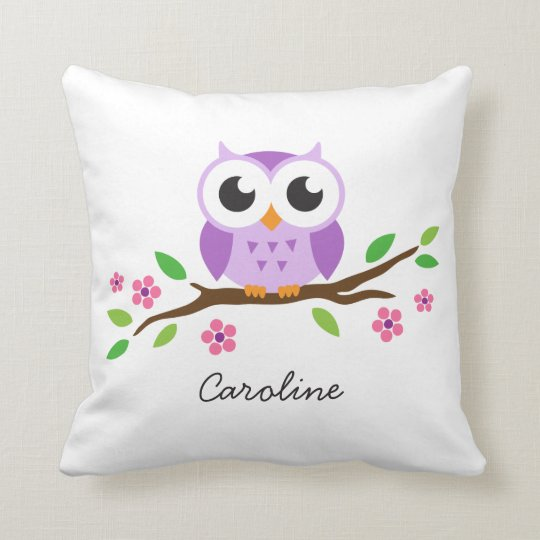 Cute Pillows For Your Room : Cute purple owl on floral branch personalized name throw pillow Zazzle.com