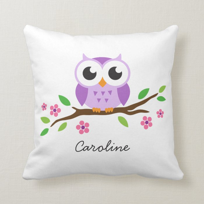 Cute purple owl on floral branch personalized name throw ...