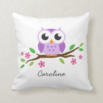 Cute purple owl on floral branch personalized name throw pillow