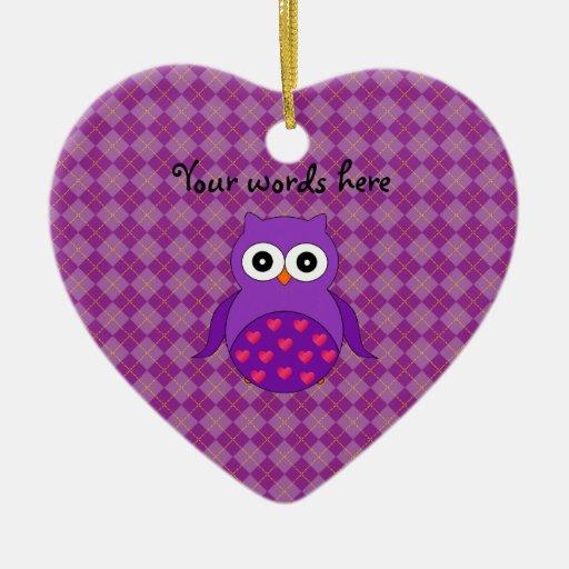 Cute purple owl Double-Sided heart ceramic christmas ornament