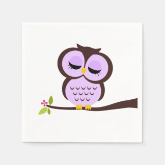 Cute Purple Owl Paper Napkin
