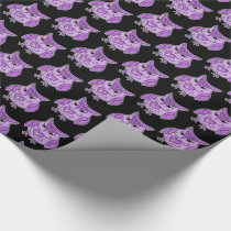 Cute purple owl pattern with tiny skulls wrapping paper