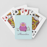 """Cute Purple Owl Playing Cards<br><div class=""""desc"""">Playing Cards with a cute owl design. Design has a purple owl,  green vine with a heart,  orange berries,  and lavender and purple flowers on a light teal background.</div>"""