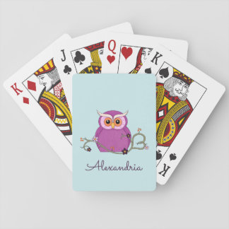 Cute Purple Owl Playing Cards
