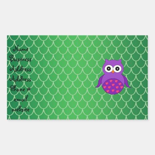 Cute purple owl rectangular sticker