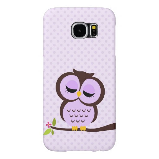 Cute Purple Owl Samsung Galaxy S6 Cases