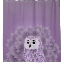 Cute Purple Owl Shower Curtain