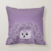 Cute Purple Owl Throw Pillow