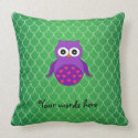Cute purple owl throw pillows
