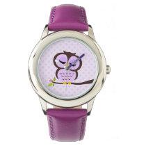 Cute Purple Owl Watch