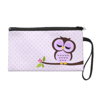 Cute Purple Owl Wristlet Purse